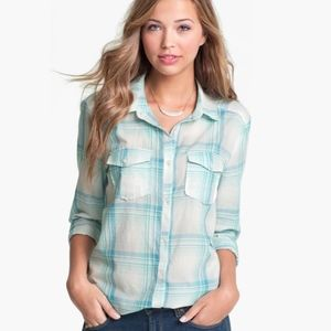 *NWT* Rubbish Plaid Tunic Length Button Down Shirt